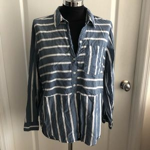 Abercrombie & Fitch Stripe white blue top shirt